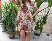 50% Off Off Shoulder Mini Dress Peasant Mini dress Short Sleeves Peasant Floral Mini Dress Upcycled Light Floral Print Cotton Small Medium