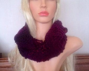 Unique womens designer lace effect hand knit/crocheted purple wine cowl,scarf,infinity neckwarmer