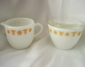 Vintage Pyrex Cream and Sugar Corning Butterfly Gold Sugar and Creamer Mid Century Modern Retro