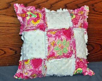 Pink Floral Rag Throw Pillow