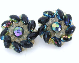 Vintage 1950s CZECH Iridescent Black Amethyst Molded Crystal Bead PINWHEEL SPIRAL Clip Back Earrings Mid Century Fashion Jewelry