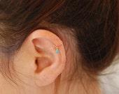 Gold hoop, cartilage earring, helix earring, turquoise hoop, tiny cartilage earring