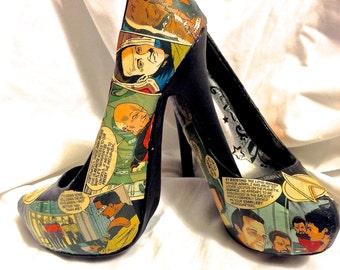 Ultra high Star Trek the Next Generation Custom Comic Book Decoupage shoes -  Pumps