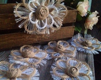 Natural Rustic Burlap Country Wedding Cake Topper Set of 6 Flowers