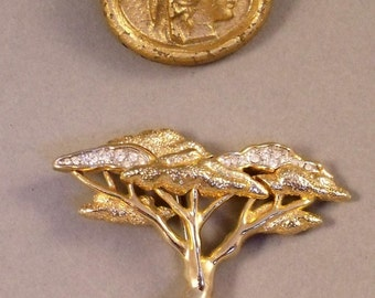 2 x Gorgeous Vintage Brooches Goldtone and Sparkly Diamonte Cedar Tree and Gilt Cameo