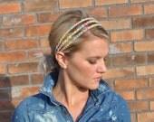 Boho Crochet Headband  Batik Fabric