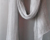 Linen Scarf Shawl Wrap Stole Light Gray Transparent SALE