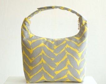 Lunch Bag Insulated, Women Lunch Bag,Fabric Lunch Bag, Gray Feather Brush Stroke on Yellow Background
