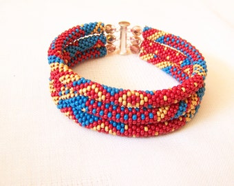 Beadwork - 3 Strand Bead Crochet Rope Bracelet in blue, red and gold - beaded jewelry - seed beads bracelet