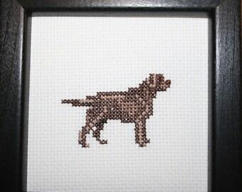 Chocolate Labrador Retriever Cross Stitched Full Body Dog.