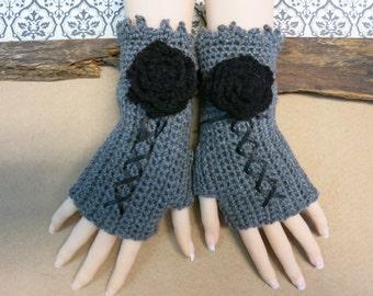 Crochet Fingerless Gloves, Dark Grey Corset Wool Gloves, Arm Warmers, Gothic Gloves,   Dark Grey Black Burlesque Wrist Gloves, Australia