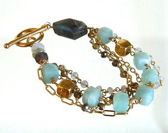 Peruvian Opal Cube Multi Chain Bracelet,  Moonstone, Pyrite, Labradorite Station Chain