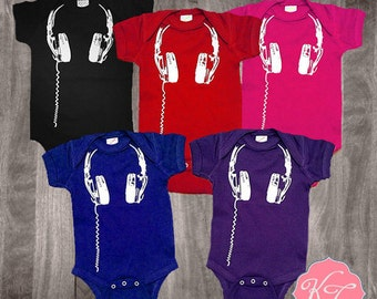 Headphones baby onesie infant toddler