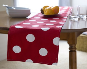 """TABLE RUNNER, Runner, Red Table Runner.Red Polka Dot Runner. 48"""", 60"""",72"""",84"""",96"""" Runner or 12 x 18""""Placemat."""