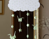 Origami Hanging Mobile - Handmade Paper Cranes and Stars
