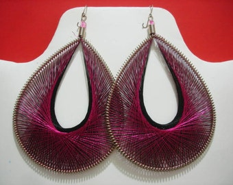 Thread earrings Fuchsia and Black colors Assorted Size
