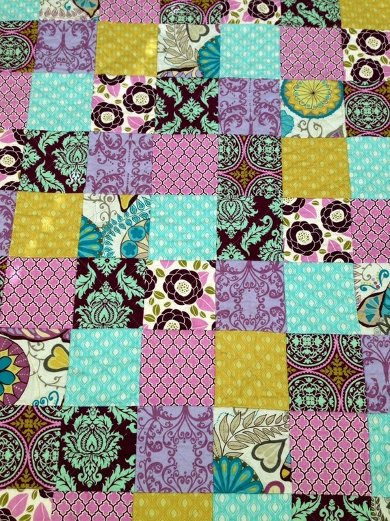 Purple & Aqua Reversible Rag Quilt - Baby/Toddler Size - READY TO SHIP