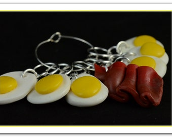 5 Polymer clay fried eggs stitch markers + 1 row marker bacon + holder