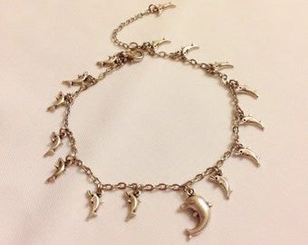 Antique Silver Anklet, Dolphin Anklet, Ankle Bracelet, Charm Anklet, Handmade Jewelry, Fashion Woman Jewelry, Beach ,Summer Jewelry