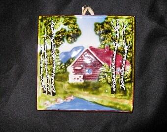 Germany Vintage Schramberg Ceramic Tile Majolica Majolika Home Scene Kandgemait