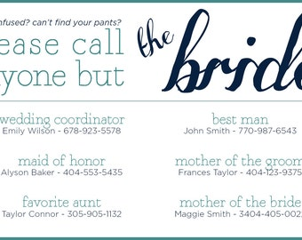 Wedding Day Contact List