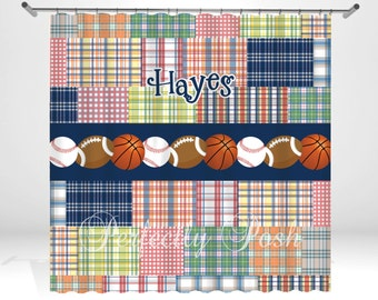 Personalized Plaid Shower Curtain