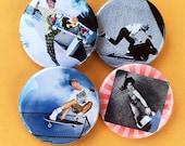 Vintage Skateboarding Photos - Pinback Buttons - Hosoi, Swank, Gonz, Natas