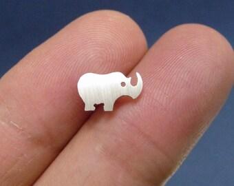 a925 sterling silver rhino ear studs, handmade sterling silver ear post, sterling silver ear studs, mini earstuds