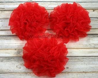 Petti Puff - Red Chiffon Rosette Flowers - Set of 3