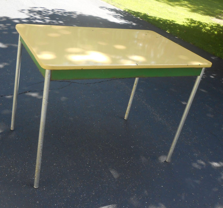 Vintage Enamel Top Kitchen Table: Antique Enamel Top Farmhouse Kitchen Table Removable Legs