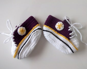 Purple White Crocheted Converse Style Purple and White Baby Booties-Converse Style Booties-Bootees-Shoes