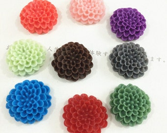 10pcs 20mm Mixed color resin flower