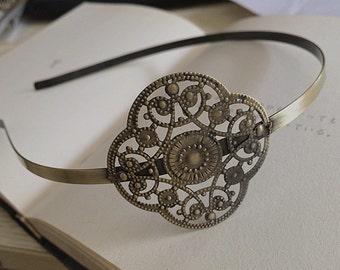 2pcs 45x45mm Floral headband  Antique Bronze Filigree metal Headband