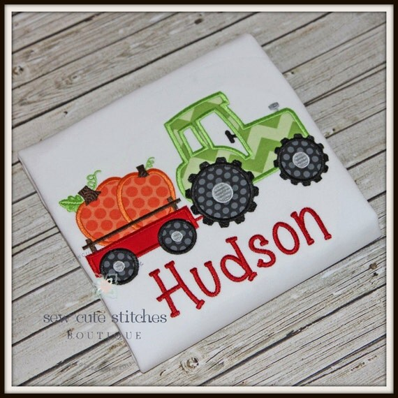 Custom Pulling Tractor T Shirts : Tractor pulling pumpkins embroidered shirt fall
