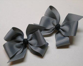 Grey Gray with U You Pick your Knot color Hair Bows Pig Tail Pair Set of 2 Toddler Girl Grosgrain