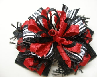 Deluxe Hair Bow Black Red You Pick Color Unique Big Boutique Toddler Girl Korkers Over the Top