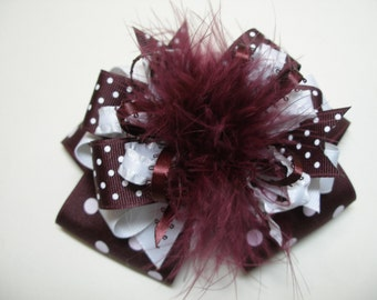 TX A&M Big Burgundy Maroon Wine White Hair Bow Deluxe Over the Top Marabou Polka Dot Large Boutique Toddler Girl