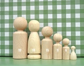 Wooden Peg Doll Unfinished Wood Waldorf Family wooden dolls of 6 ecofriendly party favors, beige white - eco wedding favor