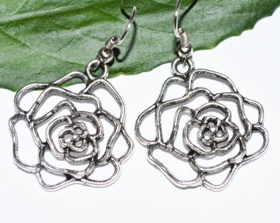 BUY ANY 4- Any 1 FREE Antique silver flower filigree rose earrings boho chic metal casual trendy earrings antique affordable women gift