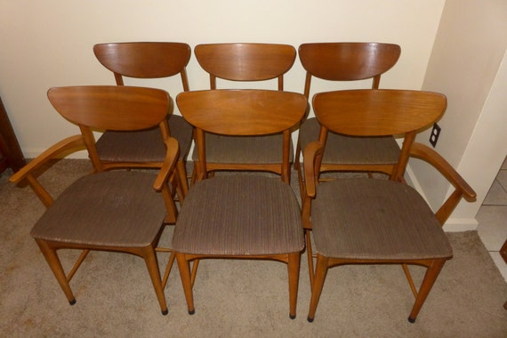 RESERVED for Coree Set of 6 Mid Century Modern Walnut Scoop