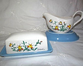 Vintage Petal Pets Chickweed Butter Dish and Gravy Boat