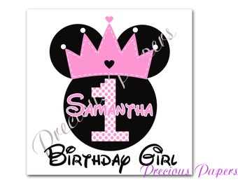 Personalized princess Minnie Mouse iron transfer image  Minnie mouse clipart minnie mouse birthday t-shirt transfer