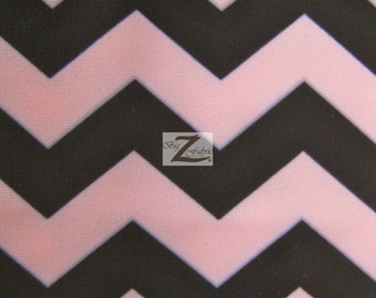 "Zig Zag Chevron Poly Spandex Fabric - PINK/BLACK - 58""/60"" Width Sold By The Yard"