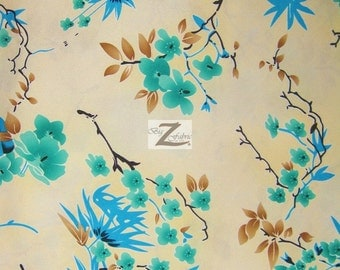 """Quince Blossom Floral Satin Fabric - IVORY/JADE - 58"""" Width Sold By The Yard"""