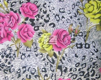 """Floral Leopard Mix Satin Fabric - FUCHSIA/YELLOW - 58"""" Width Sold By The Yard"""