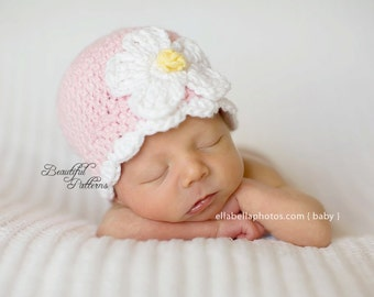 Crochet Hat Pattern Baby Crochet Hat Daisy Flower Flapper Beanie PDF Pattern 120 Newborn to Adult  Photo Prop Instant Download