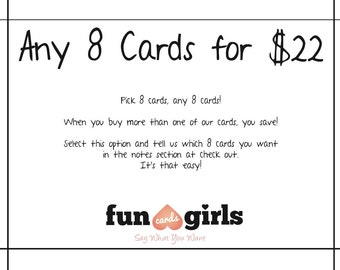Funny Cards, Cards for friends - 8 Pack