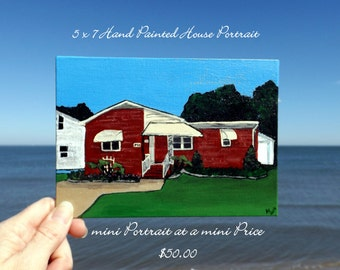 Real Estate Closing Gift 5 x 7 Hand Painted HOUSE PORTRAIT
