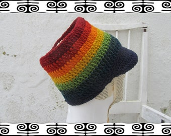 Rasta Tube Dread Headband with brim peak purple rainbow lined Size L