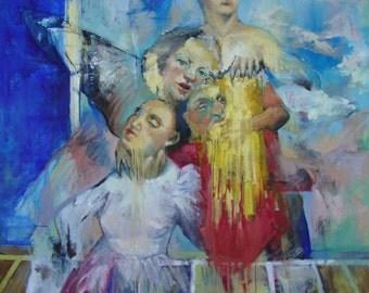 "Painting- Oil on canvas ""Random Lifelines"" by Yelena Parharidou"